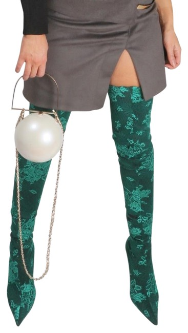 Item - Green Floral Embroidered Textile Thigh High Boots/Booties Size US 8.5 Regular (M, B)