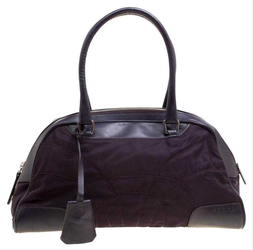 4cb42ceadeae49 Prada And Leather Purple Nylon Satchel - Tradesy