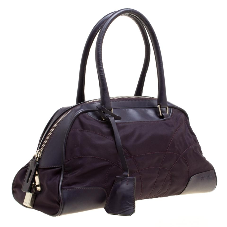 39c8b424487c71 Prada Nylon Leather Satchel in Purple Image 10. 1234567891011