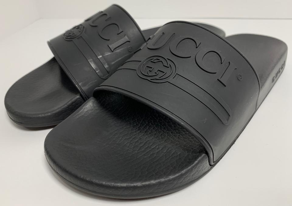00df4f4ac Gucci Black Pursuit Logo Slide Mens Sandals Size US 9 Regular (M, B) -  Tradesy