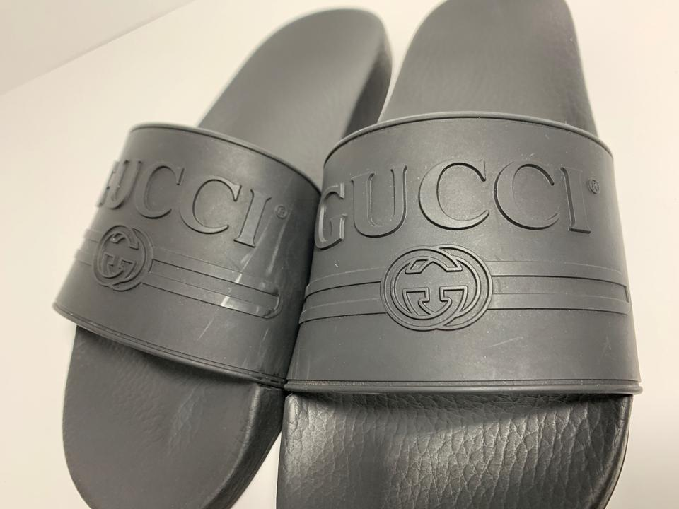 9dc54c480 Gucci Black Pursuit Logo Slide Mens Sandals Size US 9 Regular (M, B ...