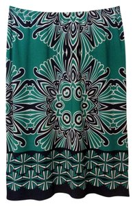 Sunny Leigh Patterned Skirt green, white, navy blue