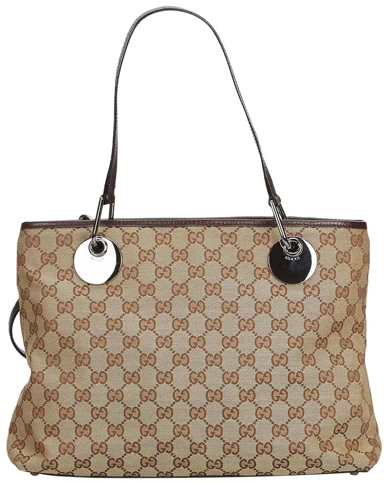 bcc608fdb Gucci Eclipse Jacquard Fabric Gg Tote Italy W Dust Black Blend Leather  Shoulder Bag