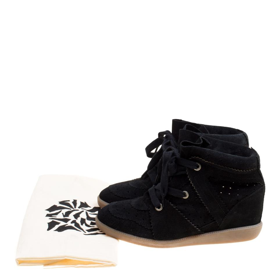 a833cc941e Isabel Marant Black Suede Bobby Lace Up Wedge Sneakers Flats Size EU ...