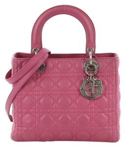 Dior Christian Cannage Tote in pink