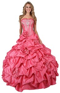 DaVinci Bridal Quinceanera Prom Strapless Beaded Train Dress