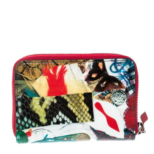 Christian Louboutin Multicolor Trash Print Patent Leather Panettone Spiked Zipper Coin Pur Image 1