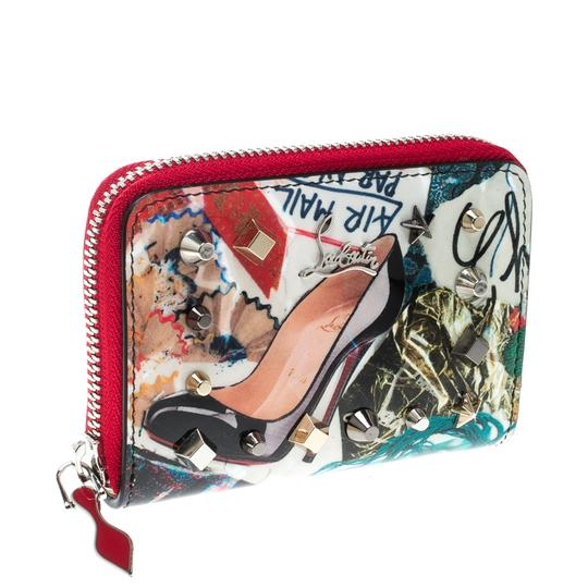 Christian Louboutin Multicolor Trash Print Patent Leather Panettone Spiked Zipper Coin Pur Image 2