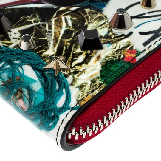 Christian Louboutin Multicolor Trash Print Patent Leather Panettone Spiked Zipper Coin Pur Image 3