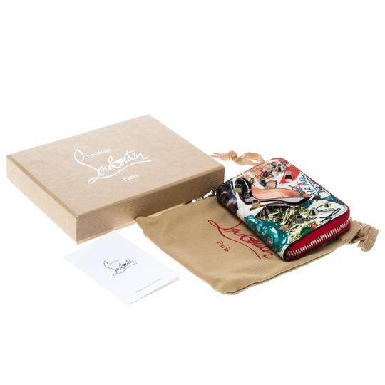 Christian Louboutin Multicolor Trash Print Patent Leather Panettone Spiked Zipper Coin Pur Image 9
