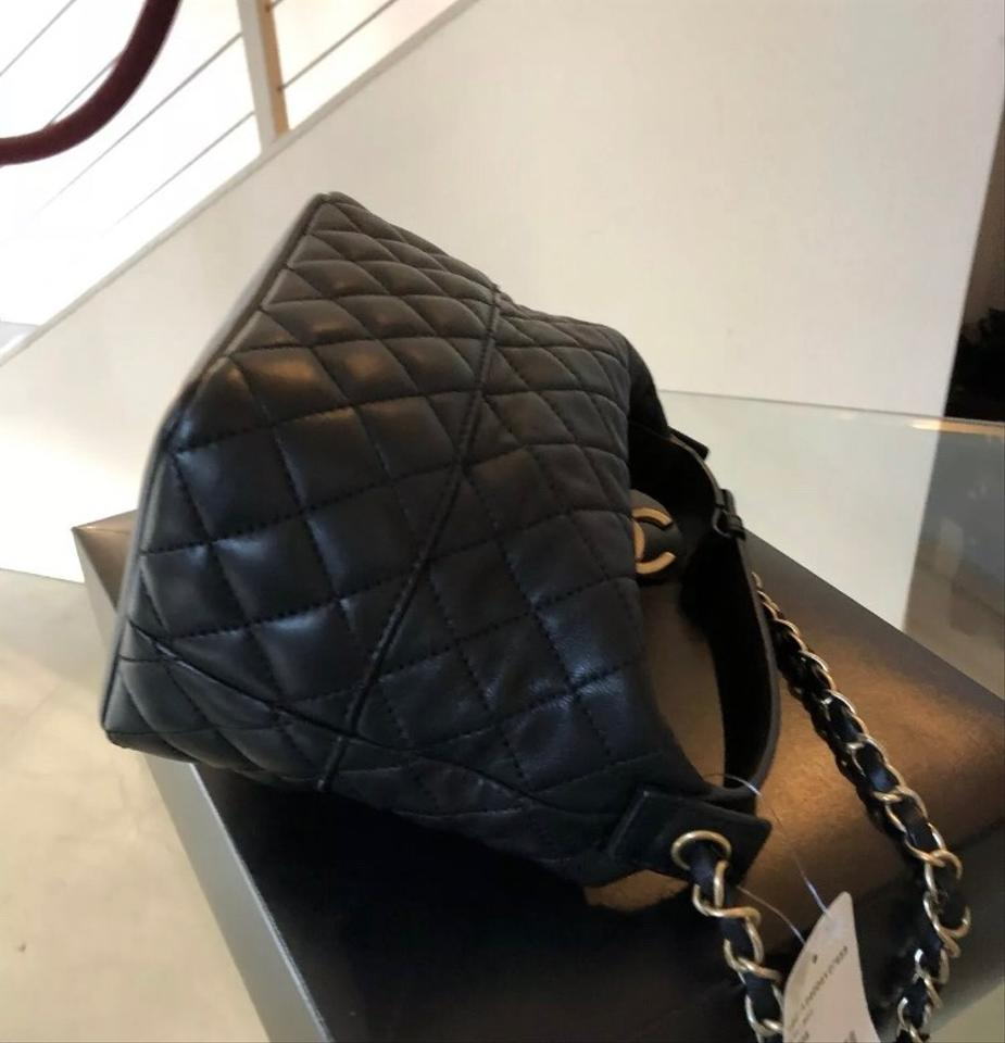 1c469e4fedc9 Chanel Hobo Quilted Shoulder Black Lambskin Leather Cross Body Bag ...