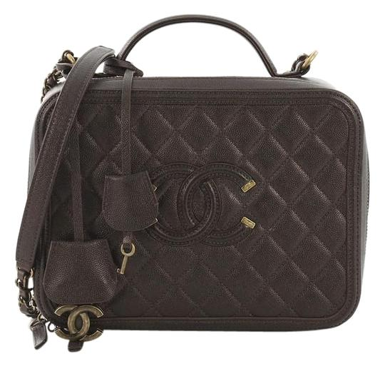 e2335ec19684 Chanel Vanity Case Filigree Quilted Caviar Large Purple Leather ...
