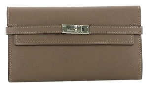Hermès Wallet Leather Etoupe taupe Clutch