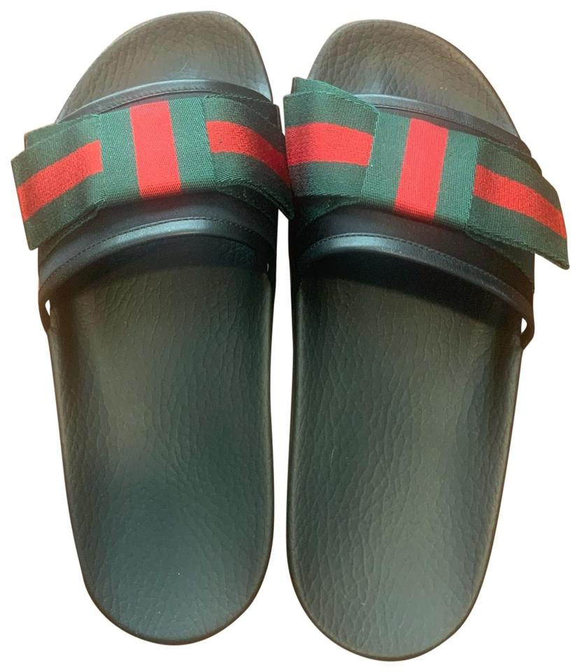 7256c30f01fd Gucci Black Satin Slide with Web Bow Sandals Size EU 39 (Approx. US ...