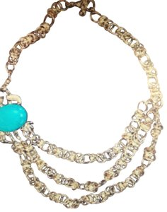 Lilly Pulitzer Turquoise and Gold Crab Necklsce