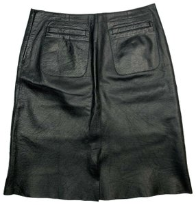 Barneys New York Lambskin Mini Skirt Black