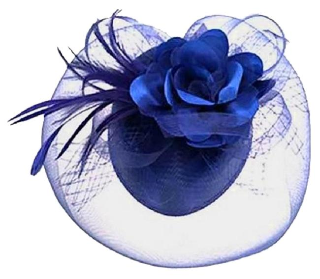 Unbranded Royal Blue New Floral Feather Mesh Hat Unbranded Royal Blue New Floral Feather Mesh Hat Image 1