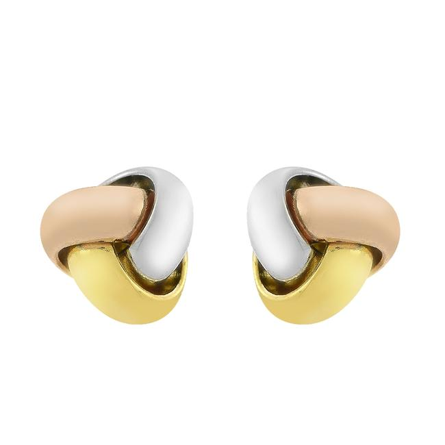 Item - 14k Yellow Gold Tri Color Knot Rose White Italy Earrings
