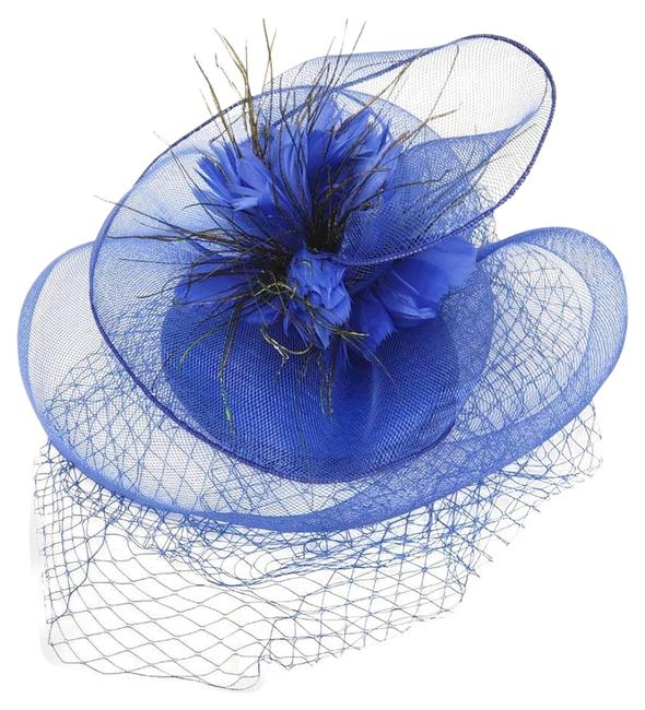 Item - Royal Blue New Floral Feather Mesh Hat