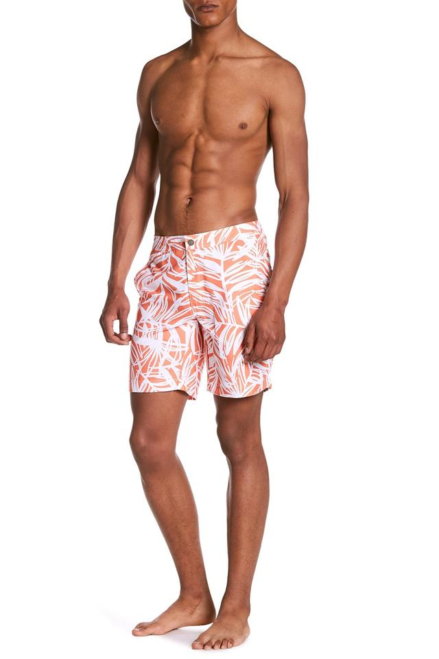 1c22f607638f8 Onia Melon/White Palm Leaf Calder Swim Trunks Men's 38 Activewear Bottoms