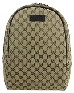 Gucci Leather Gg Print Backpack