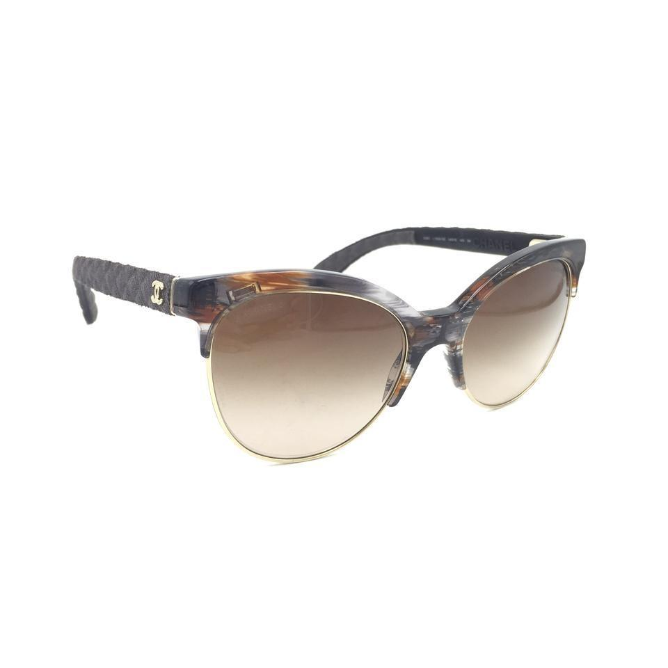 2f383c715a3 Chanel Black Brown Pantos Cat Eye Quilted Gradient 5342 1554 S5 Sunglasses  - Tradesy