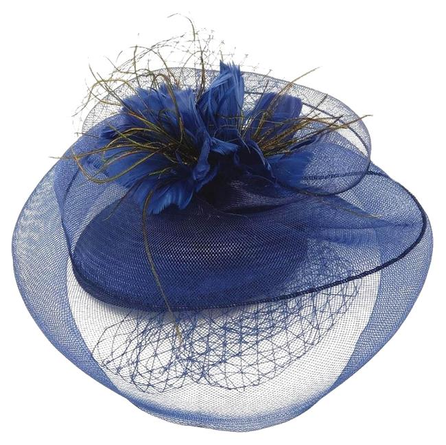 Unbranded Navy New Floral Feather Mesh Hat Unbranded Navy New Floral Feather Mesh Hat Image 1