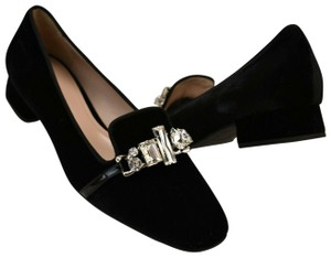768dca9c72a Prada Black Velour Belted Crystal Jeweled Low Heel Loafers Pumps Flats Size  EU 40 (Approx. US 10) Regular (M, B) 43% off retail