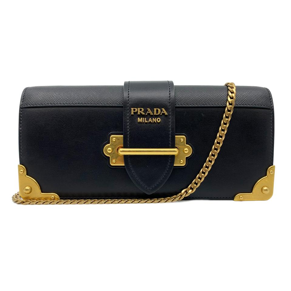 4031923ffe597f Prada Cahier Leather Crossbody Ladies Black Calf Saffiano Clutch ...