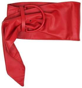 Balenciaga Women's Red Nappa Leather Over-sized Scarf Belt 70/28 470073 6510