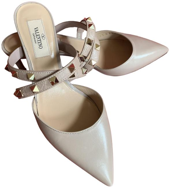 Item - Nude Garavani Rockstud Crisscross Low-heel Mules/Slides Size US 6 Regular (M, B)