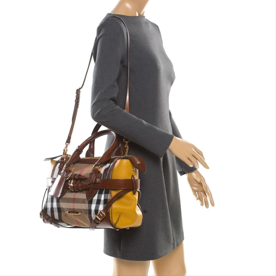 af86b0b3e73 Burberry Brown/Yellow House Check Fabric and Leather Gladstone Brown Canvas  Tote - Tradesy