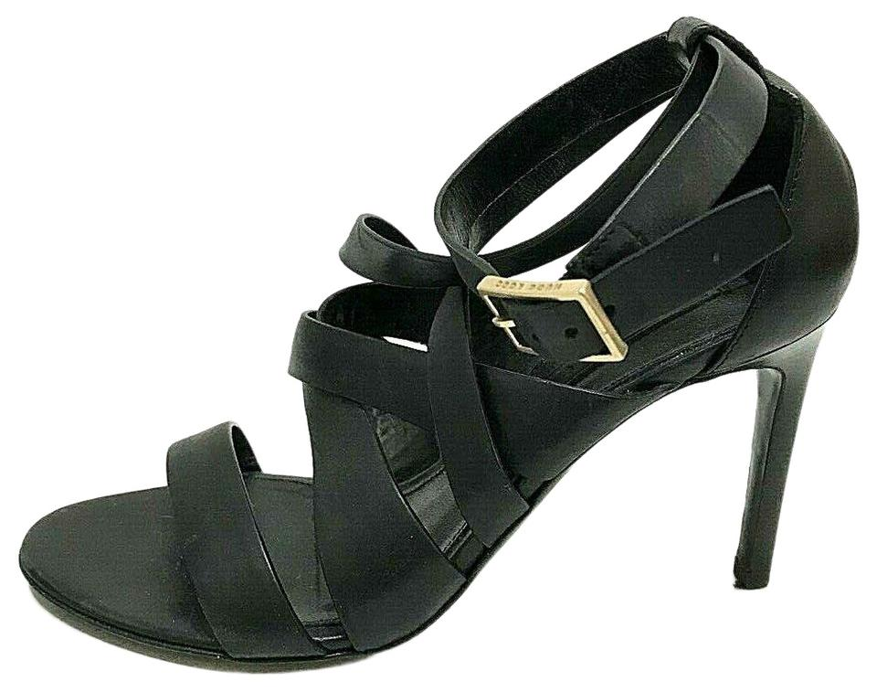 b3993fbada Hugo Boss Black Italian Leather Ankle Strap Strappy Heel 36 Sandals ...