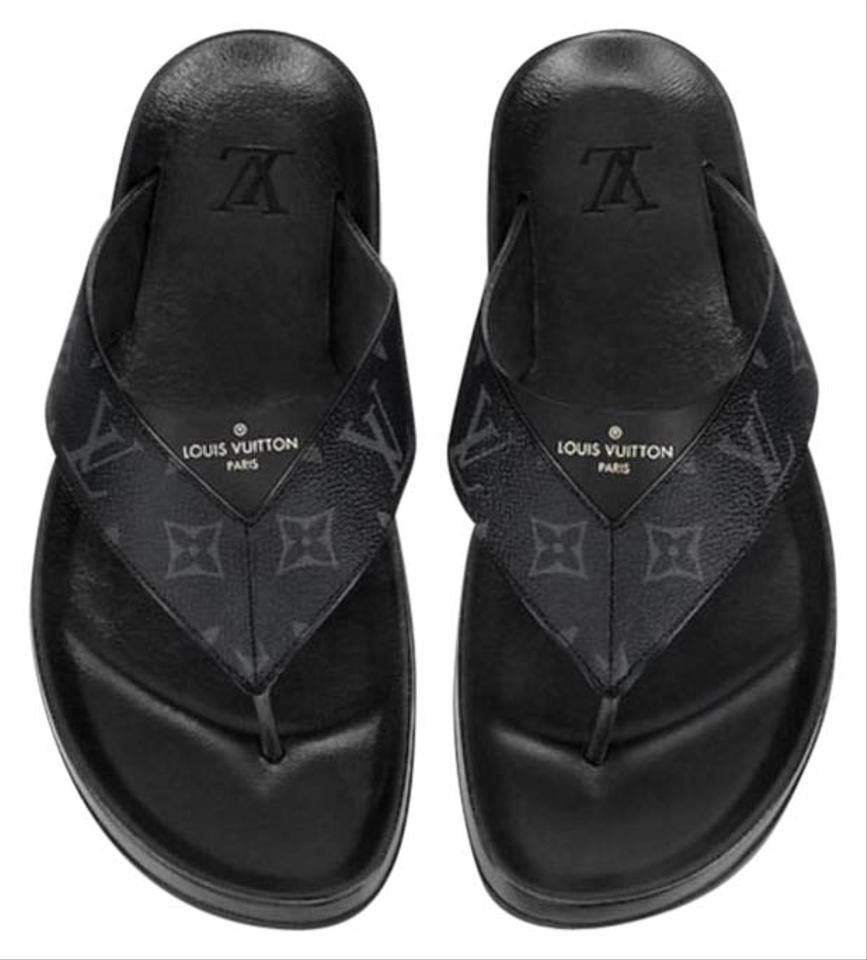 57ce3059576f Louis Vuitton Mirabeau New Lv Monogram Eclipse Thong Sandals Size US ...