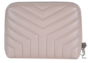 Saint Laurent New Saint Laurent YSL Quilted Matelasse Leather Cosmetic Makeup Bag