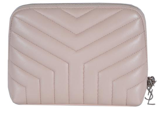 Saint Laurent New Saint Laurent YSL Quilted Matelasse Leather Cosmetic Makeup Bag Image 0