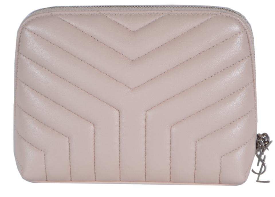 9d081caeea8 Saint Laurent Pink New Ysl Quilted Matelasse Leather Makeup Cosmetic Bag