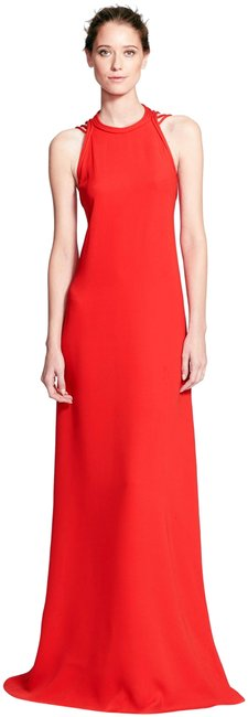Item - Poppy Red Dvf Sophia Gown Evening Maxi Open Back No Wrap Strappy Silk Long Formal Dress Size 10 (M)