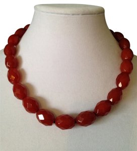 Faceted Carnelian Large Bead Necklace