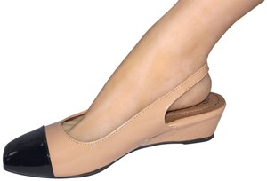 Hush Puppies Patent Slingbacks Dress Comfortable Slingbacks Work Nude & Black Pumps