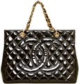 Chanel Quilted Gst Patent Leather Shopper Tote in Black