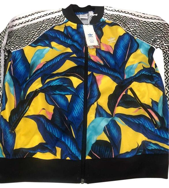 Item - Yellow L Limited Edition Floral Leaf Tropical Track Jacket Size 12 (L)