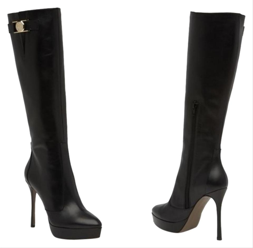 7219f709a0a Versace Black Medusa Leather Boots Booties Size EU 40 (Approx. US 10 ...