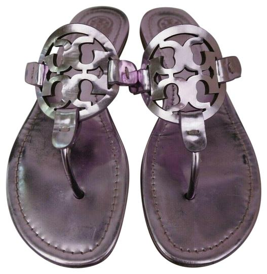 0ea4dcbfb770 Tory Burch Purple Miller Flip Flops Metallic Leather Sandals Size US ...