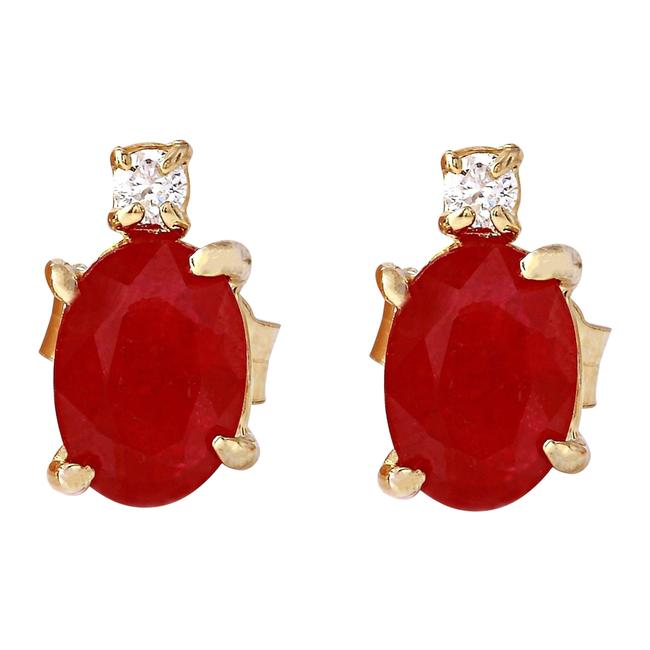 Item - Red 1.76 Carat Natural Ruby 14k Solid Yellow Gold Diamond Stud Earrings