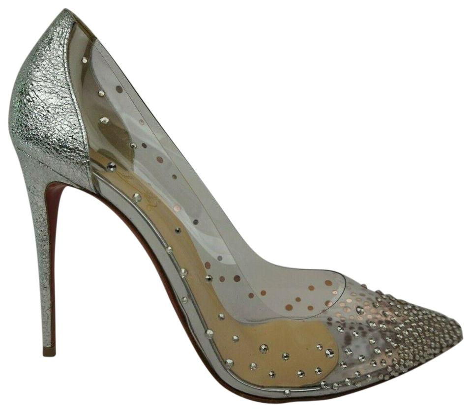 03b24967233 Christian Louboutin Silver Degrastrass Pvc Clear Embellished Pumps ...