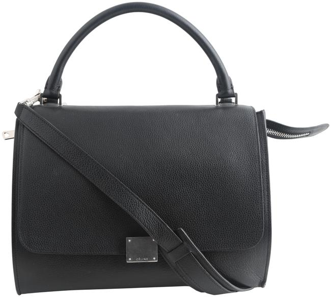 Item - Drummed Suede Small Trapeze Black Calfskin Leather Tote