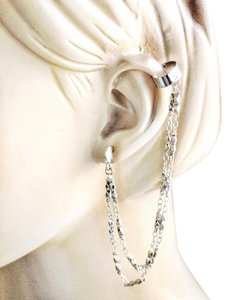 BCBGeneration Toned ear cuff double chain stud studded