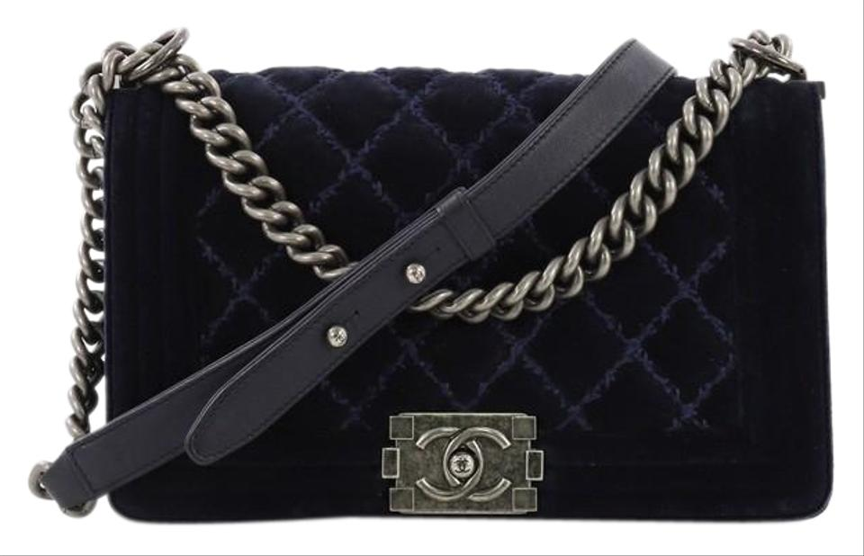 c25369ca489c6a Chanel Classic Flap Boy Quilted Old Medium Blue Velvet Cross Body Bag