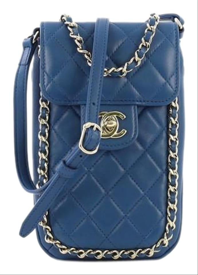 606a017c5c675a Chanel Chain Around Phone Holder Quilted Lambskin Blue Leather Cross ...
